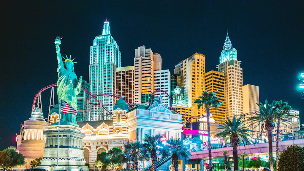 LAS VEGAS, USA - September 20, 2016: Colorful Downtown Las Vegas with world famous Strip and New Yor