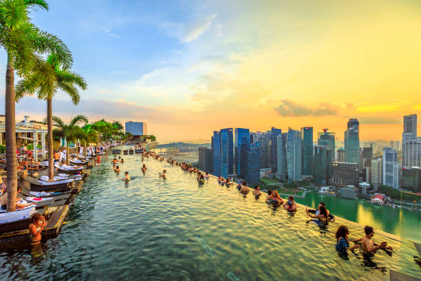 Singapore - May 3, 2018: Infinity Pool at sunset of Skypark that tops the Marina Bay Sands Hotel and